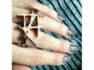 Kengo Ring [US size 5-3/4 (ring) & 6 (middle)] in 14k Rose Gold Plated
