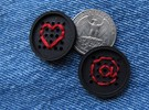 "1"" embroidery button (two) in Black Strong & Flexible"