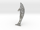 Shapeways-Silver-Dolphin-Straight-tr1-thicker1 in Raw Silver