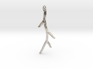 Long Textured Branch Earring or Pendant in Rhodium Plated