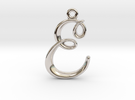 E Initial Charm in Rhodium Plated