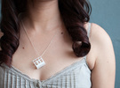 Greenhouse Model Pendant Necklace in White Strong & Flexible Polished