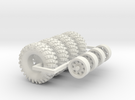 1/64 Crawler Tires with wheels in White Strong & Flexible