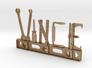Vince Nametag in Matte Gold Steel