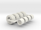 1/64 33x15.5x16.5 Skid Steer Tire And Wheels in White Strong & Flexible