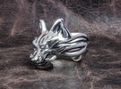 "Fox (Oinari san) ""Key"" Ring in Polished Silver"