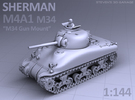SHERMAN M4A1 (M34 Gun) TANK in Frosted Ultra Detail