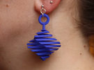 QTS earring large in Blue Strong & Flexible Polished