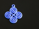 4 Spiral pendant in Blue Strong & Flexible Polished