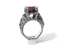Ruby Corpse Ring - Sz 7 in Raw Silver
