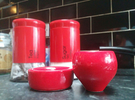 Cup and ringed coaster 3 in Gloss Red Porcelain
