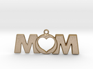Love Mom Pendant in Polished Gold Steel