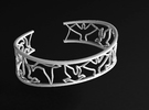 Birds Silhouette Bracelet (large) in Raw Silver