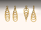 Ring Earrings in Polished Gold Steel