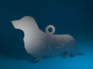 Silhouette Personalized Ornament (Dachshund - Wien in Transparent Acrylic