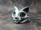 Cat Skull Ring in Polished Silver