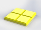 Yellow Square Coaster in Yellow Strong & Flexible Polished