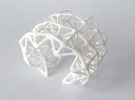 Origami_flame_Bangle in White Strong & Flexible
