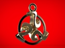Triskele celtic pendant in Polished Bronze Steel