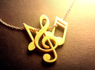 Music Necklace in Polished Gold Steel