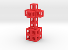 Pendant: 3d-Cross with 8 Cube-Base (48 x 24 mm) in Red Strong & Flexible Polished