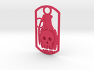 Skull grenade dog tag in Pink Strong & Flexible Polished