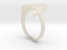 Continuous Heart Ring in White Acrylic