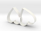 Cookie Cutter - Two Hearts Valentine Design in White Strong & Flexible