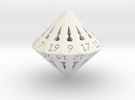 26 Sided Die - Large in White Strong & Flexible