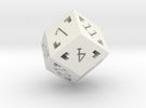 Rhombic 12 Sided Die - Large in White Strong & Flexible