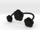 S46 Multi Flower Double Bypass Ring To Print BSF in Black Strong & Flexible