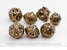 Steampunk Gear Dice Set in Stainless Steel