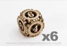 Steampunk Gear 6d6 Set in Stainless Steel
