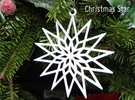 Christmas Star Ornament  in White Strong & Flexible Polished