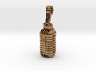 very detailed retro Microphone Pendant in Raw Brass