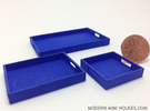 3 Piece Tray Collection 1:12 Scale in Blue Strong & Flexible Polished