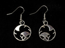 Japanese Crest Earrings in Polished Silver