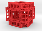 MengerKoch Fractal Cube in Red Strong & Flexible Polished