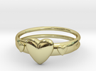 Ring with hearts, open back in 18k Gold Plated
