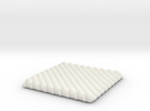 Pebble Coaster - Checkered Pattern 0 (Small Size) in White Strong & Flexible