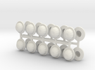 28mm Bowler hats v2 (x20) in White Strong & Flexible