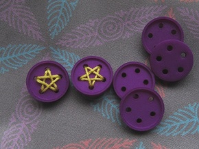 "5/8"" five-holed buttons (dozen) in Purple Strong & Flexible Polished"