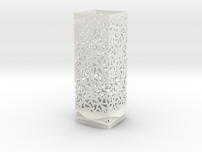 Lamp Square Column - Curved Star Pattern V1 in White Strong & Flexible