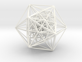 600-Cell, Perspective Projection, Vertex centered in White Strong & Flexible Polished