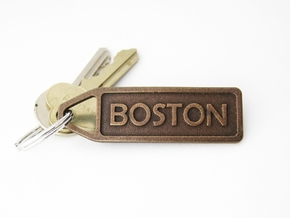 Customized Finish Time Keychain - Personalize it! in Polished Bronze Steel