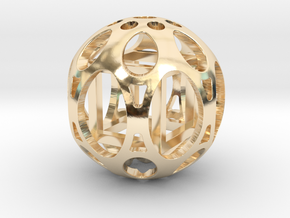 Sphere housing a free-to-move cube (Necklace) in 14k Gold Plated