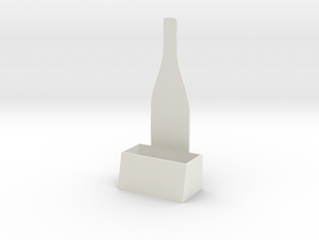 Wine Bottle Business Card Holder (small) in White Strong & Flexible