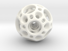 Dodecahedron Nested Sphere ( Large ) in White Strong & Flexible Polished