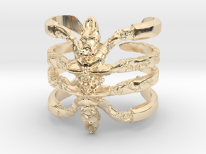 Ring Recluse 8.5 - Detailed spider adjustable in 14k Gold Plated