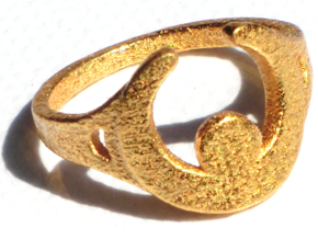 Moon Ring in Polished Gold Steel